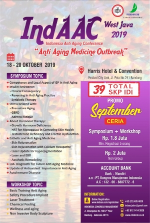 "Next Event 18 - 20 Oktober 2019 indAAC West Java 2019 "" Anti Aging Medicine Outbreak """